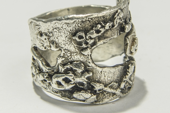 Abyss unisex organic textured ring