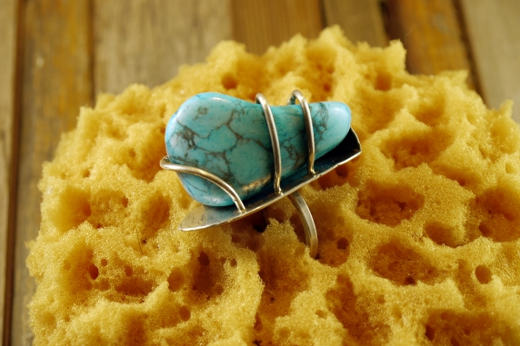 Abstract turquoise and sterling ring
