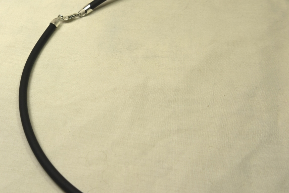 Black rubber 4mm sterling silver clasp