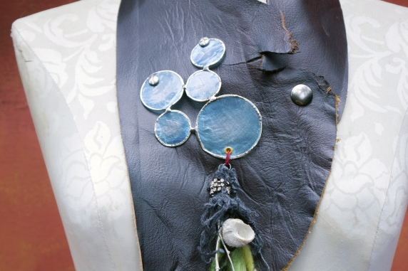 Bubbles and shells organic bohemian leather bib necklace with pewter branch