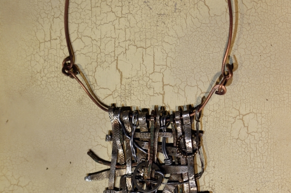 Textured sterling silver woven statement necklace