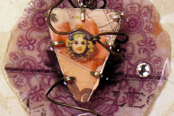 Caged circus resin necklace with a vintage crystal and leather