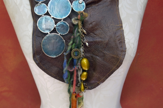 Gathered brown leather fringe bib necklace with blue capiz shell