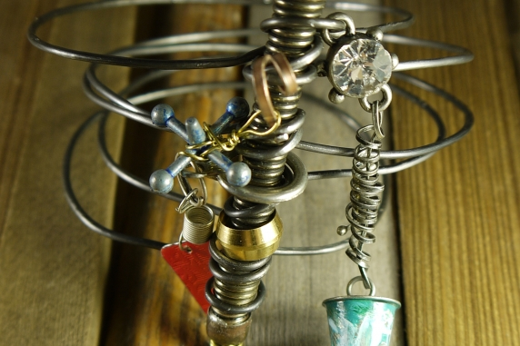 Industrial steel wire doorstop charm bangle bracelet
