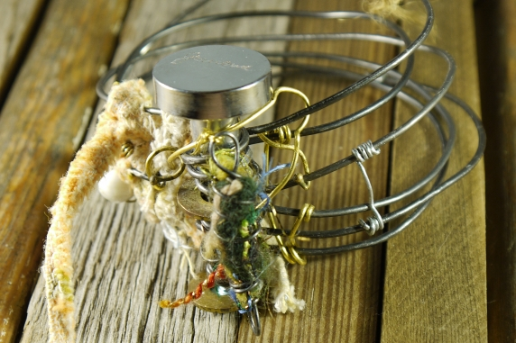 Industrial steel wire, drawer pull and yarn bracelet