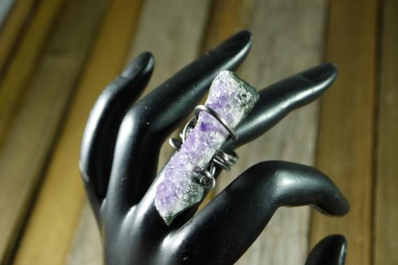 oblong amethyst steel ring