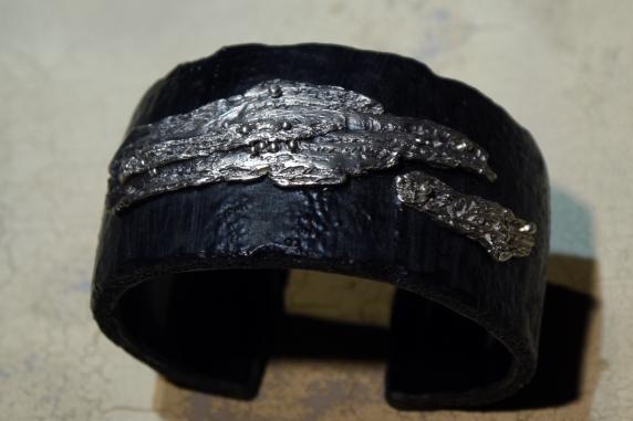 Sterling silver & pvc cuff