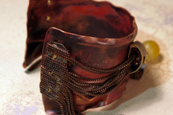 salvaged_crushed_copper_cuff_recycled_chains_beads_vintage_parts_brass Jomama