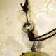 Ancient Roman glass leather and steel necklace