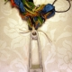 Colorful yarn and concrete safety pin necklace with steel links