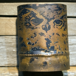 Etched owl copper cuff bracelet