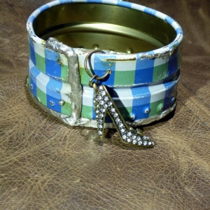 Recycled blue plaid tin can soldered cuff with high heel charm