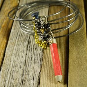 Industrial red pencil steel wire bracelet