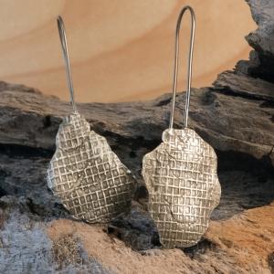 screen mesh sterling silver earrings