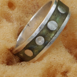 recycled sea glass inlay ring by Jomama