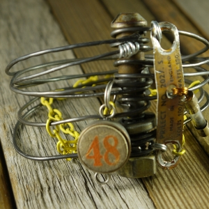 Industrial steam punk steel wire bracelet