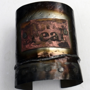 Upcycled tin can cuff bracelet with copper tag